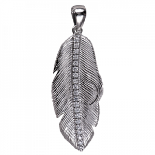 Sterling Silver and Cubic Zirconia Feather Pendant