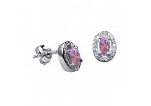 Sterling Silver Oval Studs with Rose Cubic Zirconia (October)