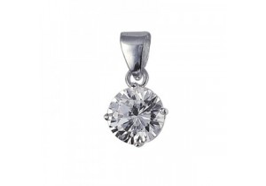 Sterling Silver Round Cubic Zirconia Pendant