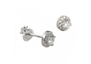 Sterling Silver White Cubic Zirconia Studs