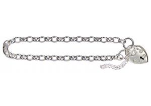 Sterling Silver Belcher 03 Padlock Bracelet