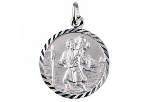 Sterling Silver Italian 16mm St Christopher Pendant