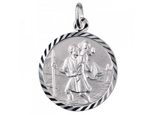 Sterling silver italian 16mm st christopher pendant mozeypictures Image collections