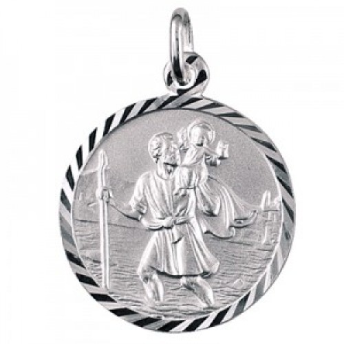 Sterling silver italian 16mm st christopher pendant mozeypictures Choice Image