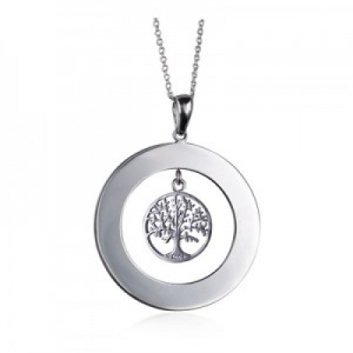 Sterling Silver Open Circle Disc Tree of Life Pendant