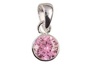 Sterling Silver Birthstone Pendant - 12 Colours