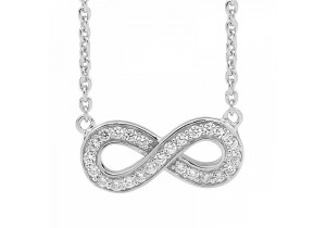 Ellani Collections Cubic Zirconia Set Infinity Pendant Necklace