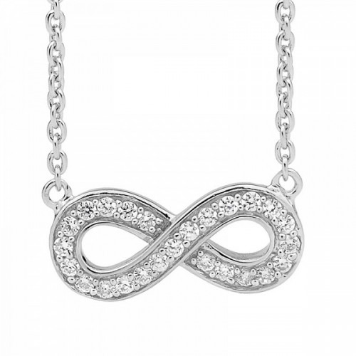 Ellani Collections Cubic Zirconia Set Infinity Pendant Necklace