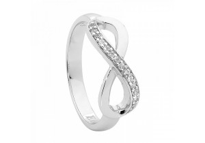 Ellani Collections Cubic Zirconia Half Set Infinity Ring