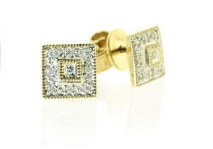 Diamond Set Square Studs