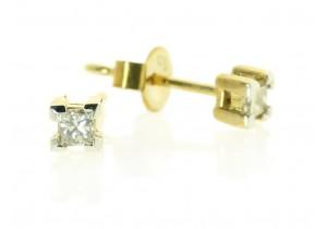 Yellow Gold Princess Cut Diamond Studs
