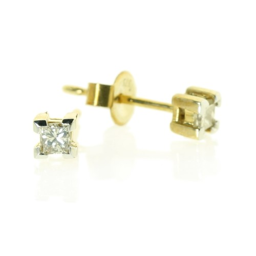 Yellow Gold Princess Cut Diamond Studs