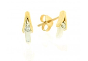 Contemporary Duo Tone Diamond Studs