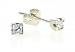 White Gold Princess Cut Diamond Studs