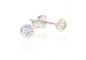 White Gold Rub Over Diamond Studs