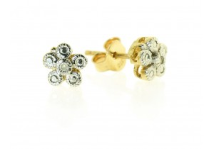 Diamond Set Flower Studs