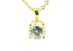 Yellow Gold Solitare Cubic Zirconia Pendant