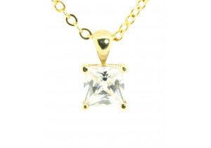 Princess Cut Cubic Zirconia Pendant
