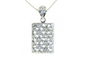 Cubic Zirconia Set Pendant in White Gold