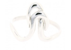 9ct White Gold Double Loop Ring