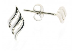9ct White Gold Wave Studs