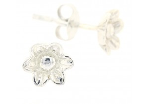 9ct White Gold Flower Studs III