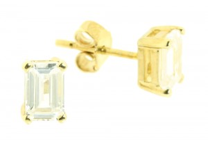 Cubic Zirconia Rectangle Studs
