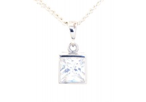 Cubic Zirconia Princess Cut Pendant